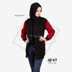 Hijacket Varsity Button Black Red