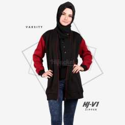 Hijacket Varsity Zipper Black Red