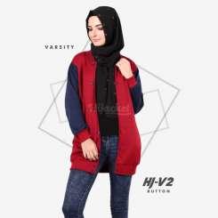 Hijacket Varsity Button Red Black